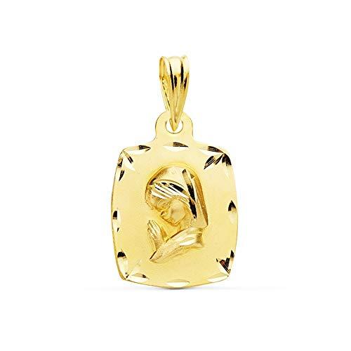 Medalla Oro 18K Virgen Niña 19mm. Borde Tallado [Ac1031Gr] - Personalizable - Grabación Incluida En El Precio