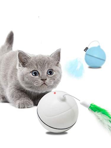 Juguete Gato Pelota Carga USB Bola Giratoria Automática Con Pluma Desmontable Para Ejercicio Animal Doméstico