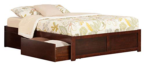 Atlantic Furniture Concord Platform Flat Panel Foot Board and 2 Urban Bed Drawers, Queen, Walnut
