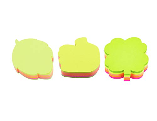 4A Shapes Sticky Notes,Leaf(2.83 x 2.83 Inches),Tree(2.6 x 2.71 Inches),Thumb Up Hand(2.83 x 2.83 Inches),Neon Assorted,200 Sheets/Pad,1 Pad/Pack,3 Packs/Set,600 Sheets Total,AAAA 4A 5061+5037+5047