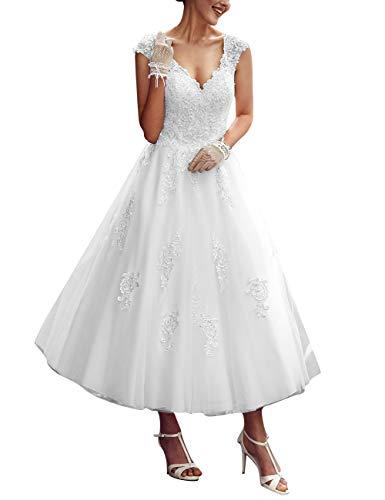 A-Linie Spitze Tüll Brautkleider V-Ausschnitt Prinzessin Vintage Hochzeitskleider Rückenfrei Wadenlang Weiß 48