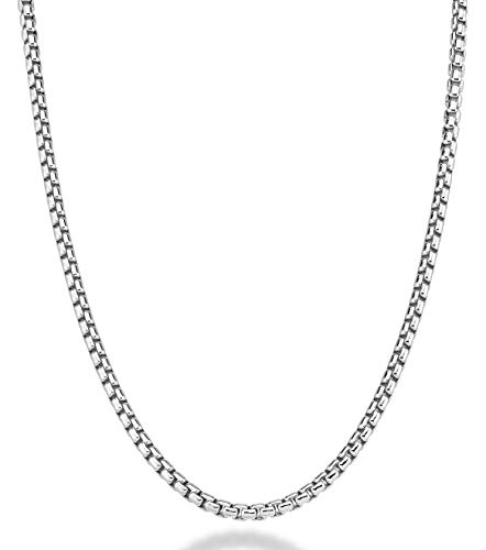 MiaBella Solid 925 Sterling Silver Italian 3.5mm Square Rolo Link Round Box Chain Necklace Bracelet for Women Men, 7.5, 8, 8.5, 9, 16, 18, 20, 22, 24, 26, 30 Inch Made in Italy (22)