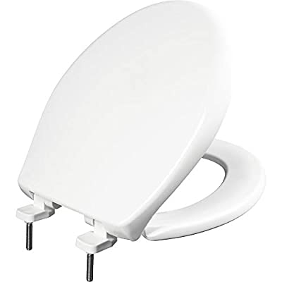 BEMIS 790TDGSL 000 Heavy Duty Closed Front Plastic Toilet Seat with Cover will Slow Close, Never Loosen & Reduce Call-backs, ROUND, Plastic, White
