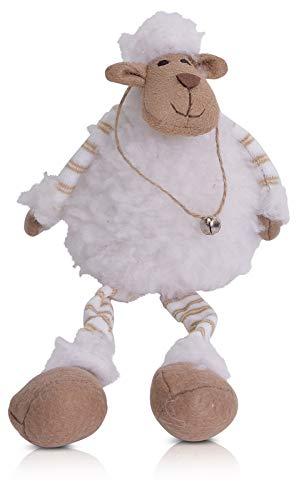 CHICCIE Kantenhocker Schaf mit Baumelbeinen 35cm - Kantensitzer Tierfigur Figur