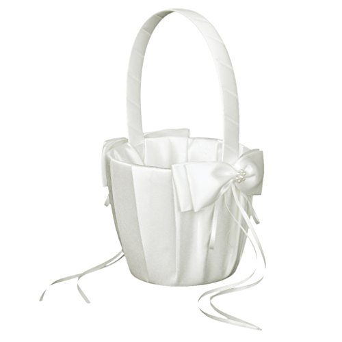 1 x Wedding Flower Girl Basket Faux Pearl Satin Bowknot Decor---Ivory