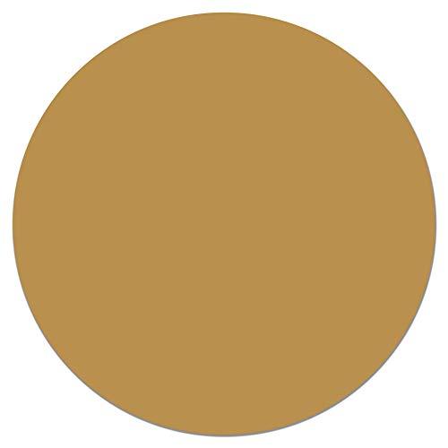 Panorama Tapis du Sol Vinyle Ronde Moutarde Lisse 150x150 cm - Tapis de Cuisine en PVC Linoléum Vinyle - Antidérapant Lavable Ignifuge - Tapis pour Cuisine Bureau Salon - Protection du Sol
