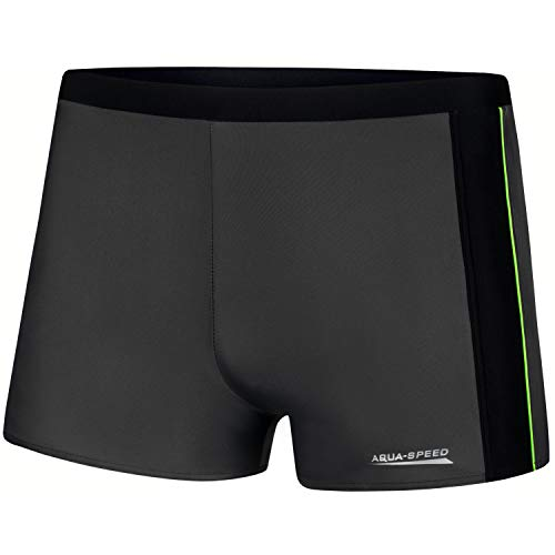 Aqua Speed Jason Mens Bañadores | Pantalones de baño para Hombres | Protección UV | 18 Tubería Gris - Negra - Verde | Tamaño: L