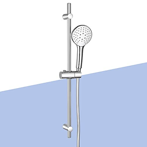 Juego de barra de ducha, juego de columna de ducha, conjunto de ducha con barra de ducha de 70 cm, 3 tipos de chorro de 11 cm y manguera de ducha de PVC de 1,5 m