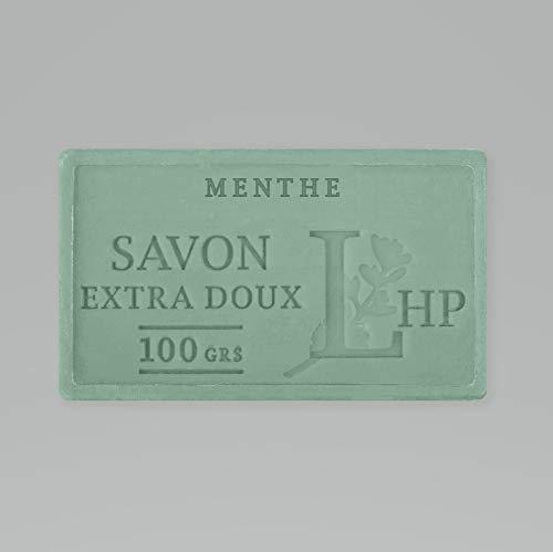 PRODUIT DE PROVENCE - MENTHE - SAVON DE MARSEILLE EXTRA DOUX 100 G - DÉLICAT PARFUM NATUREL DE MENTHE- GARANTI SANS PARABEN