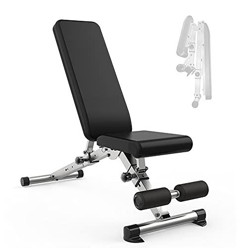 YYGG Banco de Pesas Ajustable para Fitness, Banco de Fitness Banco de Musculación Multifunción para Entrenamiento de Cuerpo Entero, Respaldo Abatible, Carga Máxima 250 Kg(132 * 113 * 46cm)