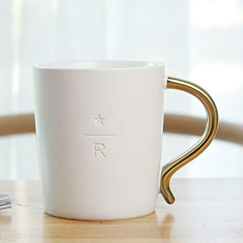 Xiaobing Regalo Creativo Taza de cerámica Taza Taza de café Taza Doble Dorada Taza de Agua Europea-Blanco en Forma de S-301-400ml