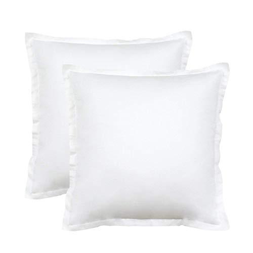 Seepong Funda de Almohada Diseño Vintage 100% Funda de Almohada de algodón Cojines de cojín Blanco Puro 2 Piezas 50x50cm