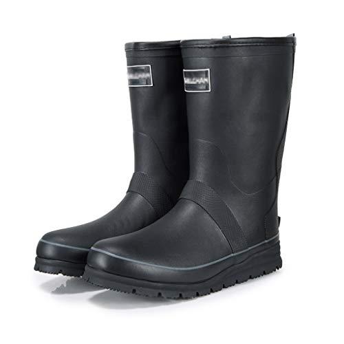 Botas de lluvia YQQMC para hombre de tubo medio cálido, resistentes al desgaste, de goma antideslizante para lluvia en el jardín (color: negro, tamaño: 46)