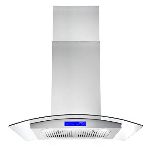 Ducted Ductless Convertible Duct Stainless Steel Kitchen Vent Hood With 2 Pcs Adjustable Lights And 3 Pcs Baffle Filters With Handlebar Iktch 36 Inch Built In Insert Range Hood 900 Cfm Appliances Range Hoods