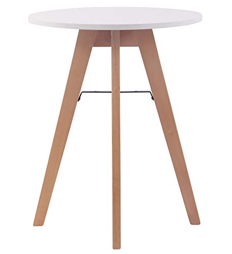 CLP Tavolo Tondo Pranzo Viktor Design Scandinavo Moderno I Tavolino Tondo in MDF E Faggio 4 Gambe Alt 75 CM, Dimensione:60 cm