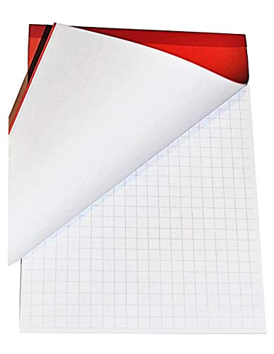 Notizblock, kariert, 10 mm, 60 Blatt, leicht abreißbar, A4, mit rotem Einband und stabiler Kartonrückseite