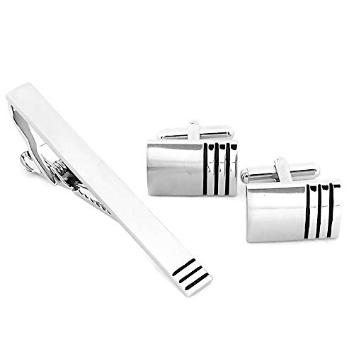 Tumundo Set de 2 Bouton de Manchette + 1 Epingle de cravate + Etui pour la Chemise et la Cravate