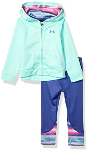 Under Armour Girls' Little Full Zip Hoody and Legging Set, Crystal f19, 5