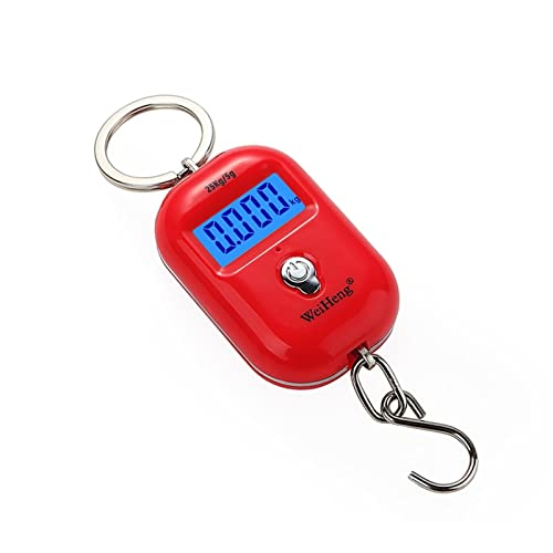 GXFC Mini báscula digital portátil de equipaje con pantalla LCD 25 kg/55 libras Báscula electrónica de bolsillo KeyChain Peso de la cocina (color: rojo)