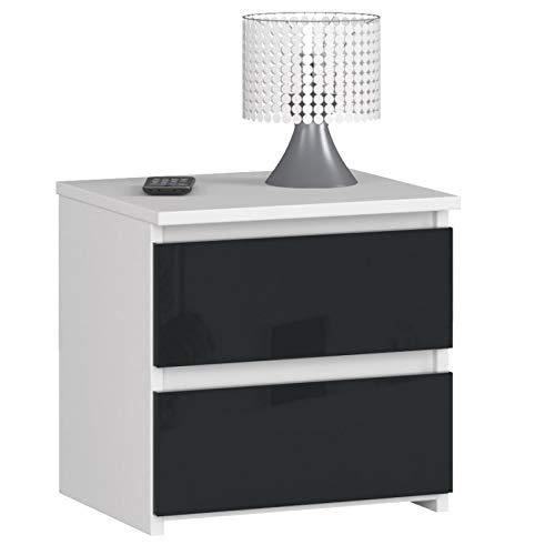 ADGO CL2 - Cómoda moderna con 2 cajones (40 x 35 x 40 cm, grosor de la placa: 16 mm, para salón, dormitorio, habitación juvenil, estudio, habitación infantil, oficina (grafito acrílico)