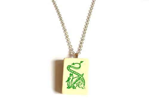 English Gems Halskette mAh-Jong Wahl Holz grünen Fliesen in Organza Tasche