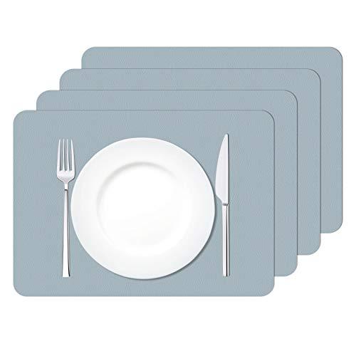 MORROLS Manteles Individuales, Juego de 4 PVC Lavables Mantel Individual, Salvamanteles Individuales Antimanchas Resistente al alor Impermeable Fácil de Limpiar 30x42cm (Gris Azulado)