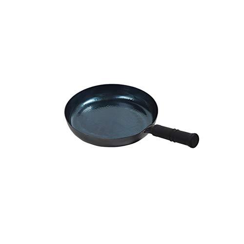 XXDTG Martillo manual tradicional Wok de fondo plano de acero al carbono forjado con mango de madera Wok de hierro fundido de pretratamiento antiadherente