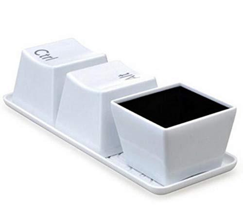 3 stuks/plankensysteem Koppen voor CTRL ALT DELETE toetsenbord met koffiekop melk theecontainer creatieve gaven,een afmeting,WHITE
