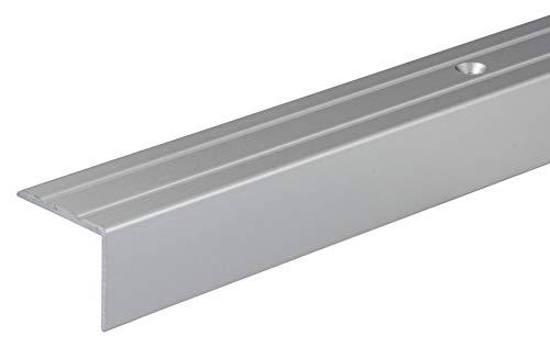 Gedotec Treppen-Profil Alu Stufen-Kantenprofil Aluminium Winkelprofil silber | 1000 mm | Bodenprofil gelocht zum Schrauben | Winkel-Schutzprofil 25 x 20 mm | 1 Stück - Treppen-Winkelprofil mit Rillen