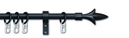 cg-sonnenschutz Gardinenstange Lilie ausziehbar 16/13 mm schwarz oder Silber komplett inkl Träger & Ringe (70-120 cm, schwarz)