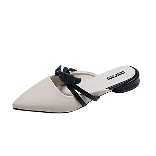 Fastbot Women's Summer Sandals Open Toe Casual Comfort Fashion Butterfly-Knot Party Pointed Toe Shoes Slides Beige