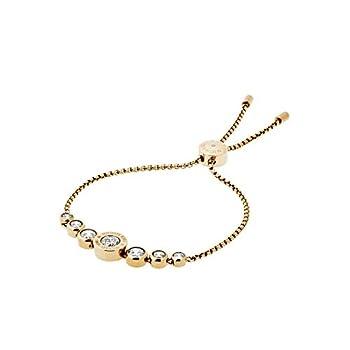 Michael Kors Logo Gold-Tone and Jet Set Crystal Slider Bangle Bracelet