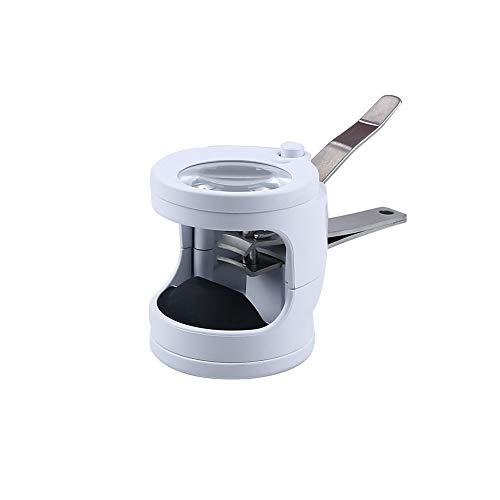Coupe-Ongles Loupe Portable avec Lumière LED Baril 3,5 Fois Manucure Nail Art (Blanc | Noir),Blanc