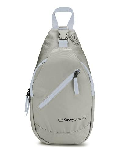 Mochila bandolera para mujer – Bolsas pequeñas perfectas para senderismo, caminar y viajar (gris claro)