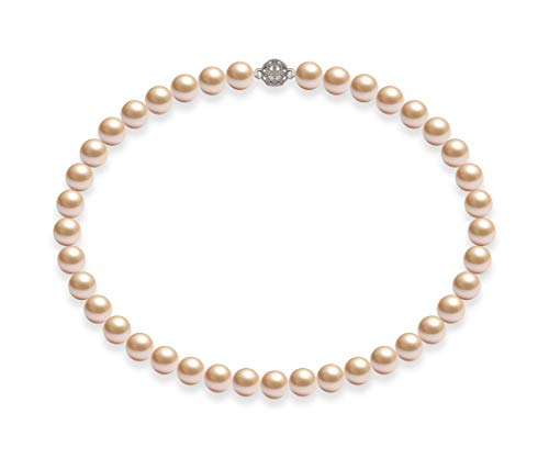 Schmuckwilli Damen Muschelkernperlen Perlenkette Rosa Magnetverschluß echte Muschel 45cm dmk1009-45 (10mm)
