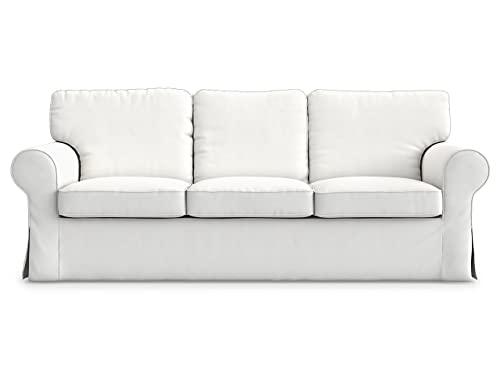Masters of Covers Funda para Sofá de 3 Plazas IKEA Ektorp, Hecho a Mano, Funda Protectora para el Sofá, Un Nuevo Look para Tu Viejo Sofá, 218 cm x 88 cm x 73 cm (Blanco, Algodón)