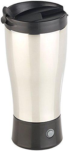 Rosenstein & Söhne Selbstrührender Becher: Selbstrührender Thermobecher mit elektrischem Quirl, 450 ml, BPA-frei (Elektrischer Milchaufschäumer)