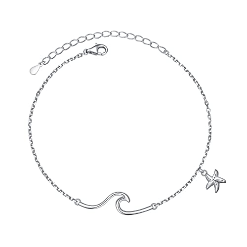 Wave Starfish Ocean Beach Sea Anklet for Women S925 Sterling Silver Adjustable Ankle Foot Bracelet Jewelry