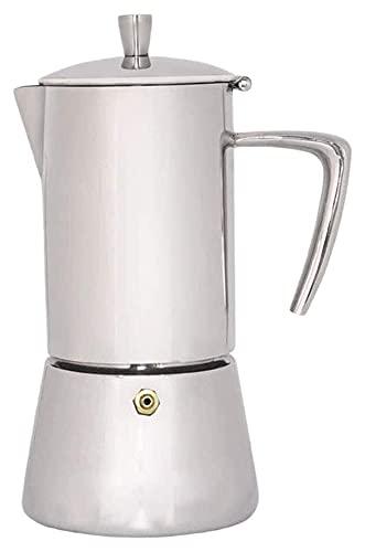 NC Cafetera Espresso con Tapa Italiana Moka, Hecha de Acero Inoxidable para café con Cuerpo, rinde 4 Tazas de Espresso (Color: Plateado, tamaño: 14x9,3x19,5 cm) Chen