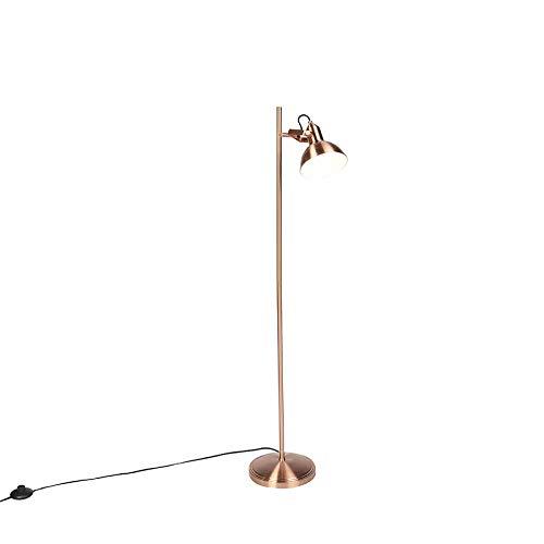 QAZQA Lámpara de pie industrial cobre 1-luz - TOMMY Acero Alargada/Redonda Adecuado para LED Max. 1 x 28 Watt