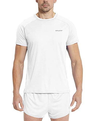 BALEAF Men's Quick Dry Short Sleeve T-Shirt Running Workout Shirts White Size M