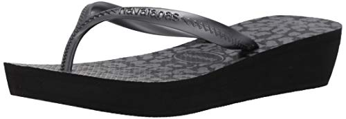 Havaianas Women's High Light II Flip-Flop, Black/Graphite, 9-10