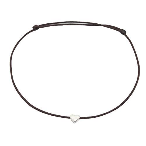 Fußkettchen Herz Silber auf braunem Satinband - Größenverstellbar Selfmade Jewelry Handmade Fußbändchen (Silber) Inkl. Geschenkverpackung