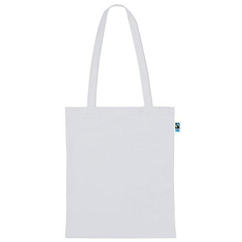 Textildruck Plauen Tasche aus Fairtrade-Baumwolle 5 Stück - 38 x 42cm Baumwollbeutel Baumwolltasche in versch. Farben (Weiß)
