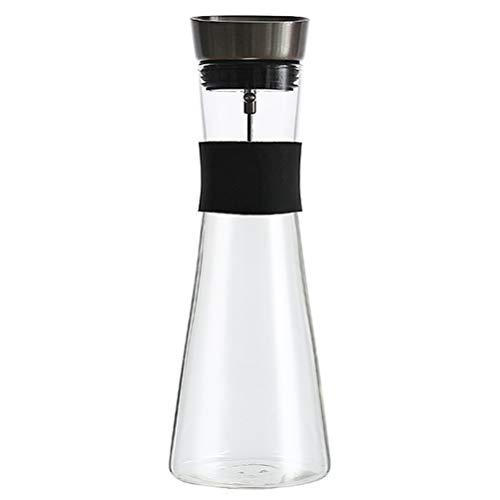 Leikance Wasserkrug aus Glas, Borosilikatglas, hitzebeständig, Wasserkaraffe mit Fruchtspieß, 1000 ml