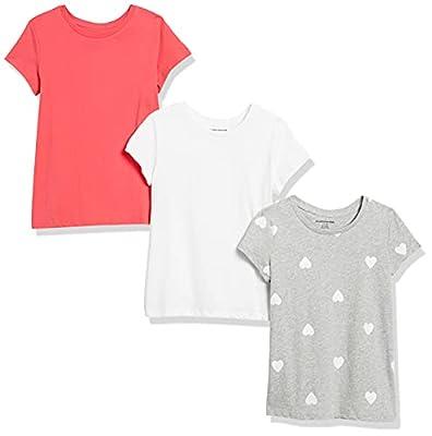 Amazon Essentials Girls' 3-Pack Short Sleeve T-Shirt, Heart/Pink/White S (6-7) by Amazon Essentials