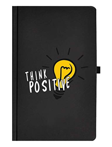 Libreta Headline THINK POSITIVE  Cuaderno clásico pasta dura de cartón negro mate 120 hojas rayadas con micro perforación.