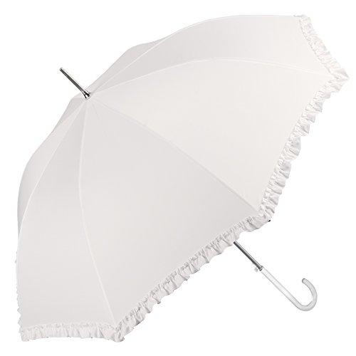 Paraguas de Novia Blanco con Volantes Rouches - Paraguas Mujer Marfil Nupcial Largo con Mango Transparente para Boda - Automatico para Lluvia y Sol - Diametro 104 cm - Perletti