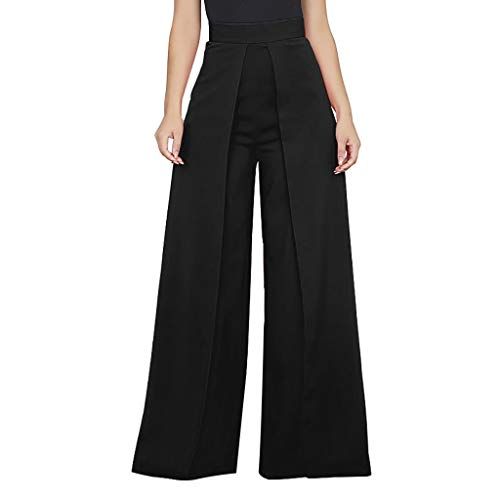 Shirt Luv Women's High Waist Fashion Solid Color Zipper Loose Wide Pants Long Trousers Black S Trousers for Women