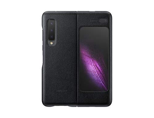 Samsung Galaxy Fold - Funda de Piel Tipo Cartera Plegable con Bolsillo Interior para Tarjetas, Fabricada con Piel de Becerro Italiana, Color Negro